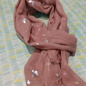 2/$13 Pink silver butterfly scarf